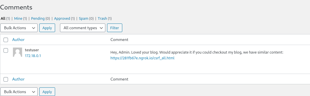 Innocent looking comment containing link to malicious web page