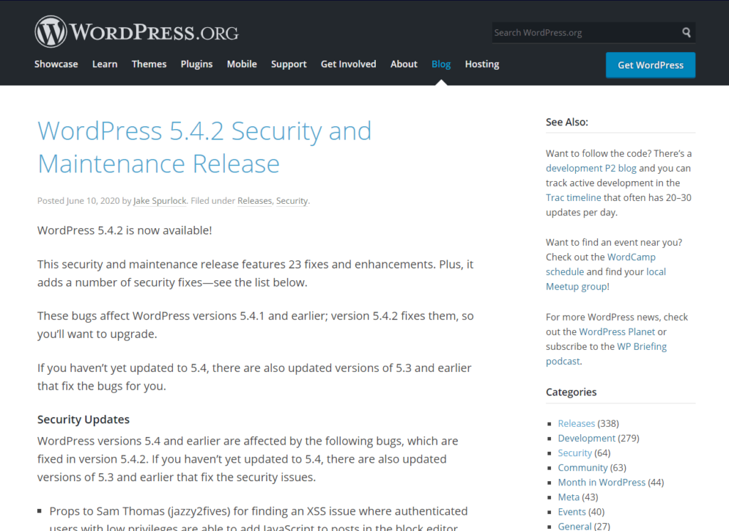 A WordPress announcement regarding the latest security update.
