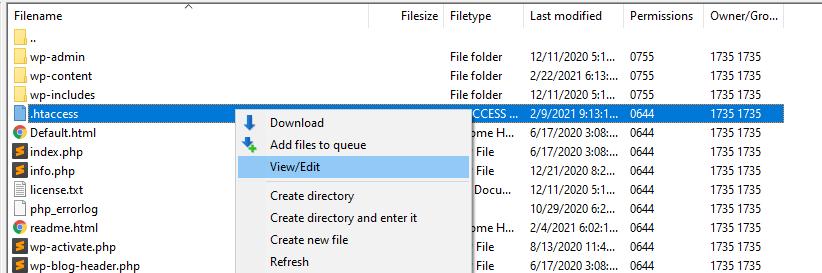 Editing the .htaccess file via FTP.