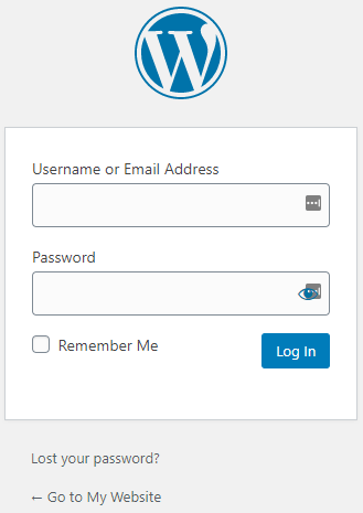 The WordPress login screen.