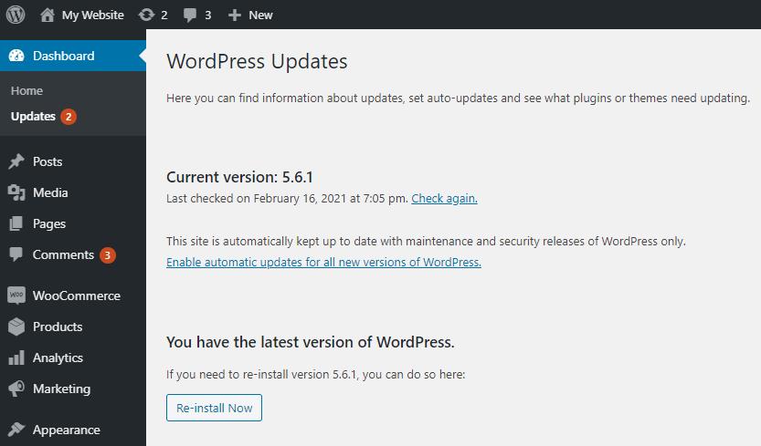 The WordPress Updates screen.
