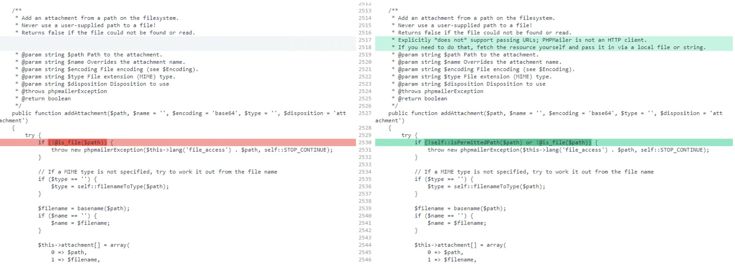 WordPress PHPMailer vulnerability diff
