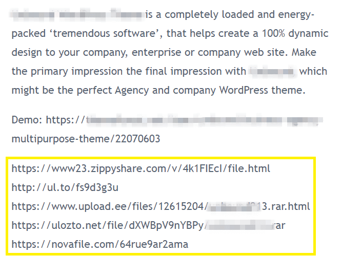 An example of a pirated site with several complicated download links.
