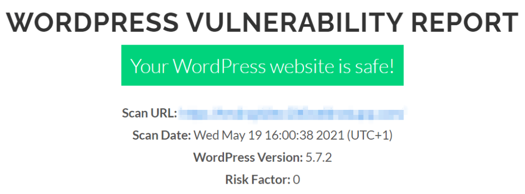 A sample result from a WPSec vulnerability scan.